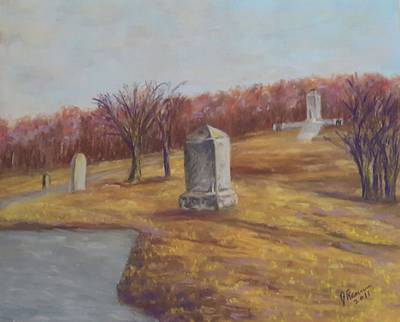 Pastel - Fall At The Peace Light Memorial Gettysburg by Joann Renner