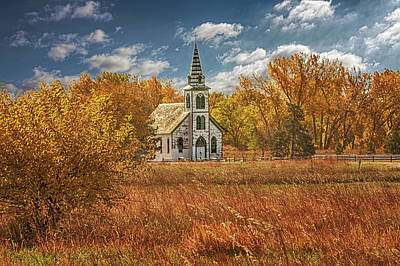 Photograph - Fall At The Prairie Church by Susan Rissi Tregoning