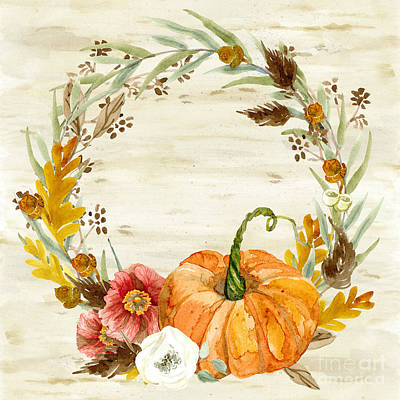Painting - Fall Autumn Harvest Wreath On Birch Bark Watercolor by Audrey Jeanne Roberts