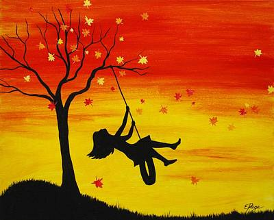 Girl On Swing Painting - Fall Back by Emily Page
