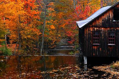 Fall Barn And River N Leverett Ma Art Print by Richard Danek