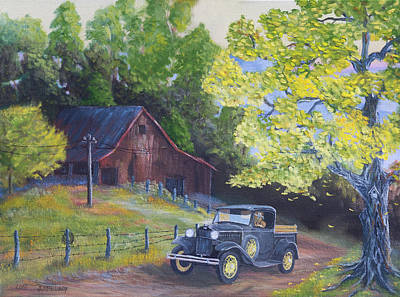 Fall Barn  Art Print by Jerry McElroy