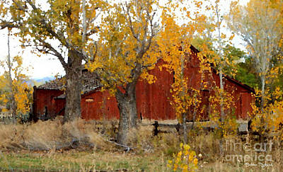 Photograph - Fall Barn Painting by Bobbee Rickard