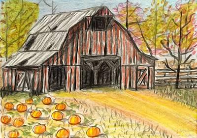 Old Barn Drawing - Fall Barn Pumpkin Patch  by Larry E Lamb