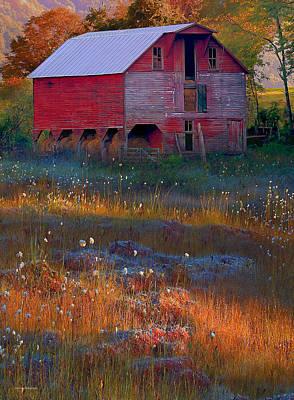 Fall Barn Art Print by Ron Jones