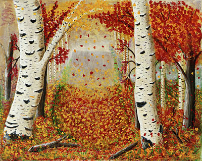 Painting - Fall Birch Trees by Susan Schmitz