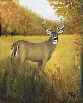 Whitetail Fawn Painting - Fall Buck by Charlotte Yealey
