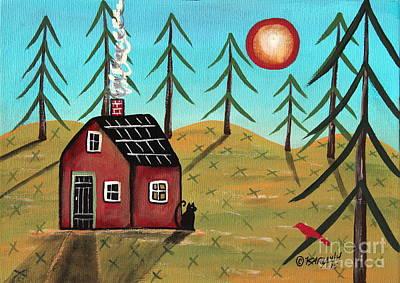 Spring Landscape Painting - Spring Cabin by Karla Gerard