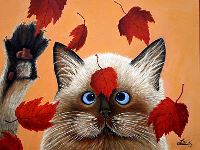 Fall Cat Art Print by Chris Law