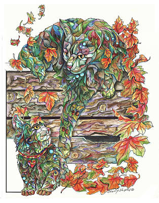 Painting - Fall Cat With Kitten by Sherry Shipley