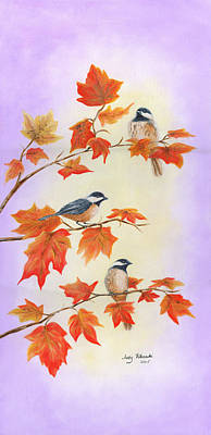 Art Print featuring the painting Fall Chickadees by Judy Filarecki