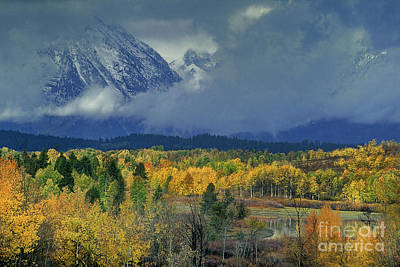 Photograph - Fall Color And Clearing Storm Oxbow Bend Grand Tetons National Park  by Dave Welling