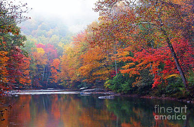 Fall Color Williams River Mirror Image Art Print by Thomas R Fletcher