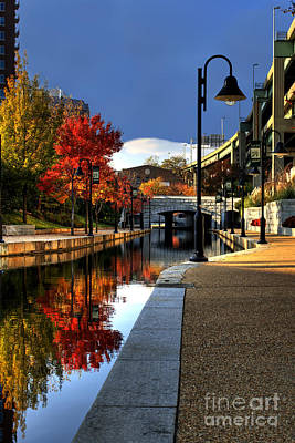 Canal Walk Photograph - Fall Colors Along The Canal by Tim Wilson