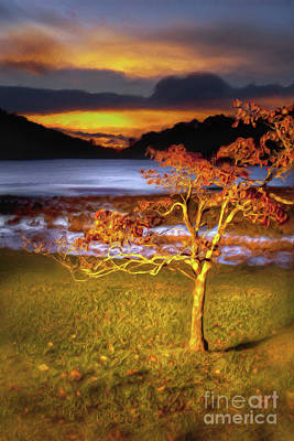 Painting - Fall Colors At Sunrise In Otter Blue Ridge Ap by Dan Carmichael