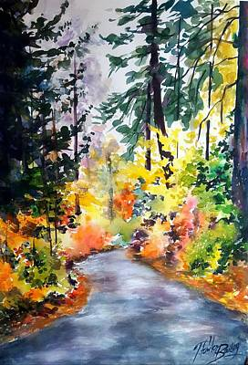 Painting - Fall Colors Make Balch Park by Therese Fowler-Bailey