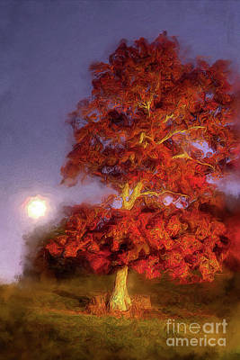 Painting - Fall Colors Moonrise In The Blue Ridge Ap by Dan Carmichael