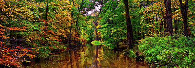 Photograph - Fall Colors - Mountain Stream Panorama 015 by George Bostian