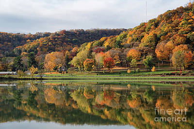 Photograph - Fall Colors Winona Mn West Lake And Woodlawn Cemetery by Kari Yearous