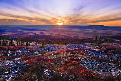 Fall Colours And Sunset Along Dempster Print by Yves Marcoux