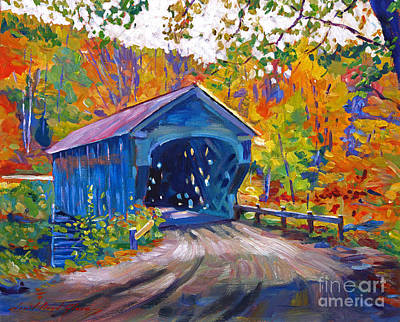 Covered Bridge Painting - Fall Comes To Downer Vermont by David Lloyd Glover