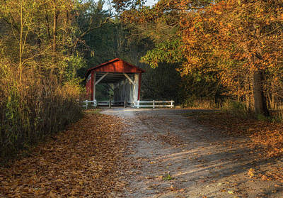 Akron Falls Photograph - Fall Covered Bridge by Dale Kincaid