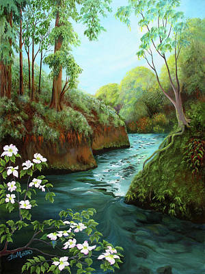 Painting - Fall Creek In Spring by Beverly Martin