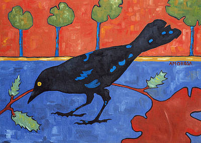 Indian Contemporary Artist Painting - Fall Crow by Donald Amorosa