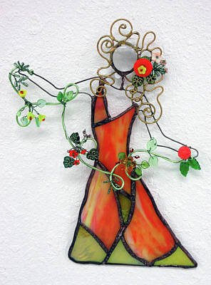 Glass Art - Fall Dancer by Maxine Grossman