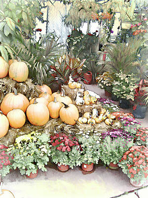 Photograph - Fall Decorating At The Market by Leslie Montgomery