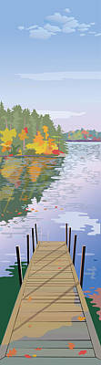 Wall Art - Painting - Fall Dock by Marian Federspiel