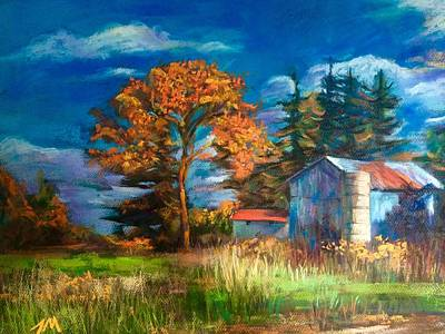 Painting - Fall Farmer House by Jieming Wang