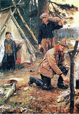 Painting - Fall Fishing Camp by Philip R Goodwin
