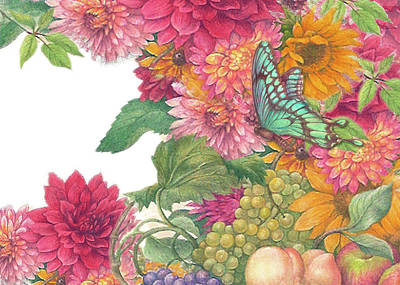 Painting - Fall Florals With Illustrated Butterfly by Judith Cheng
