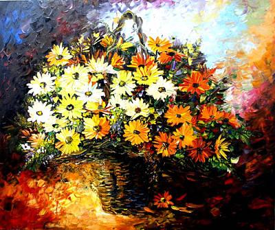 Daniel Wall Painting - Fall Flower Basket by Daniel Wall Print