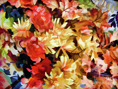 Photograph - Fall Flowers And Leaves by D Hackett
