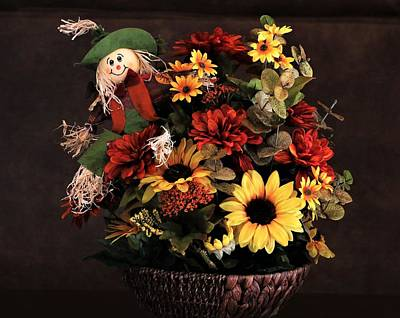 Photograph - Fall Flowers And Scarecrow by Sheila Brown