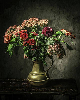 Tankard Digital Art - Fall Flowers by Jerri Moon Cantone