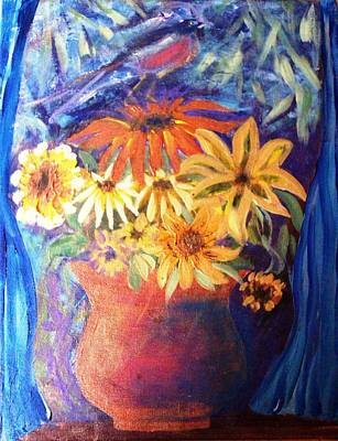 Terra Mixed Media - Fall Flowers by Sue Williams