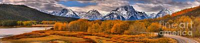 Photograph - Fall Foliage At Oxbow Panorama by Adam Jewell