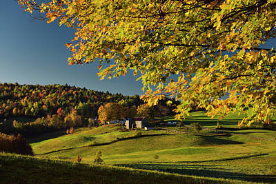 Fall Photograph - Fall Foliage At Sunrise With Fields Of Jenne Farm Reading Vermon by Reimar Gaertner