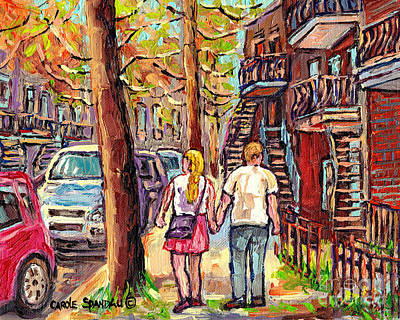 Montreal Memories Painting - Fall Foliage Canadian Art Autumn Street Scenes Of Verdun Montreal Staircases Carole Spandau          by Carole Spandau