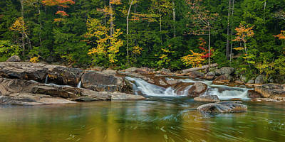 Fall Foliage In Autumn Along Swift River In New Hampshire Art Print