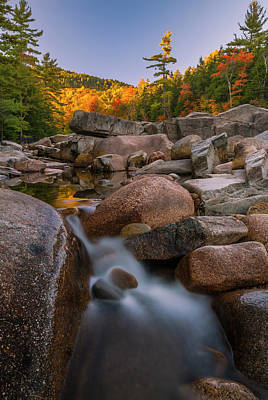 Art Print featuring the photograph Fall Foliage In New Hampshire Swift River by Ranjay Mitra