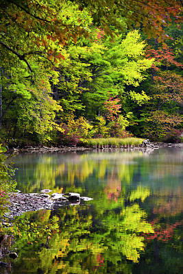 Country Scene Photograph - Fall Foliage Reflection by Christina Rollo