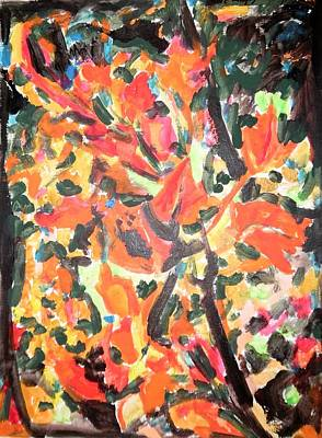 Painting - Fall Forest In Red And Black by Esther Newman-Cohen