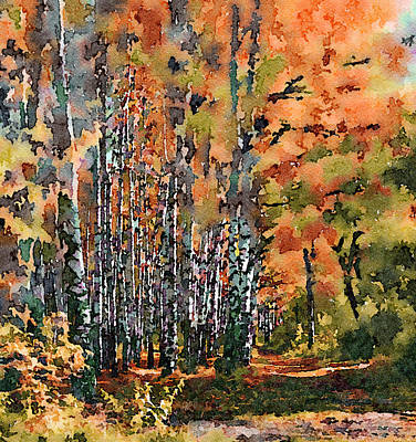 Digital Art - Fall Forest Watercolor 3 by Yury Malkov