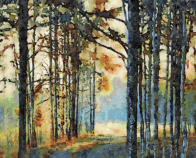 Digital Art - Fall Forest Watercolor by Yury Malkov