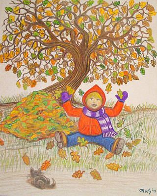 Autumn Art Drawing - Fall Fun by Nick Gustafson