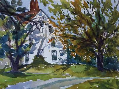 Newengland Painting - Fall In Farmhouse by Mija Kang